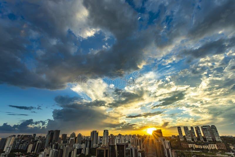 Beautiful Sao Paulo skyline sunset, Brazil. Beautiful Sao Paulo skyline sunset, Brazil South America royalty free stock image