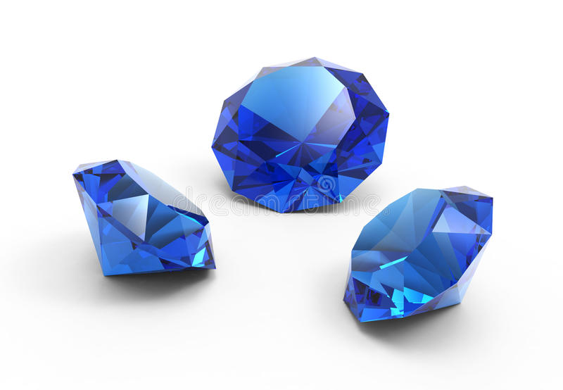 A beautiful saphire gems. Isolated on white background royalty free illustration