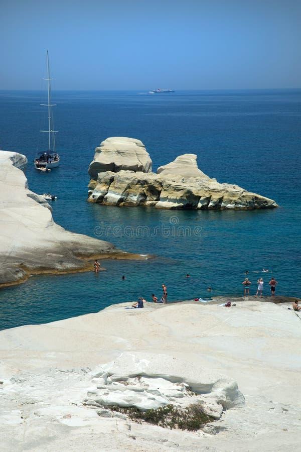 Sarakiniko beach in Milos in Greece. Beautiful Sarakiniko beach in Milos island in the Agean sea in Greece stock photo