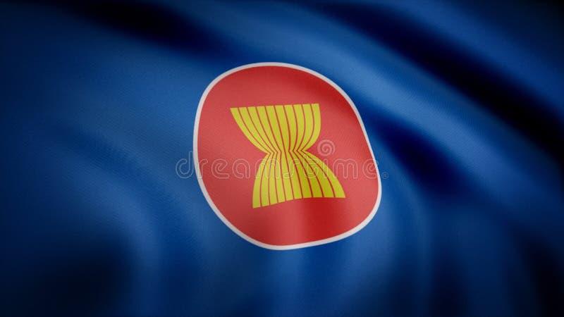 Beautiful satin finish looping flag animation of ASEAN. ASEAN Flag Close Up Realistic Animation Seamless Loop stock photo