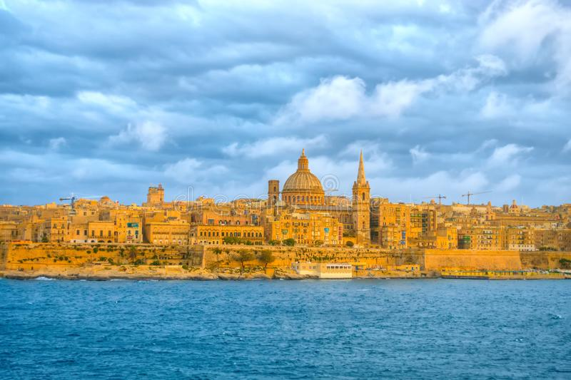 Beautiful scene of Basilica Our Lady Mount Carmel in Valletta fr stock photo