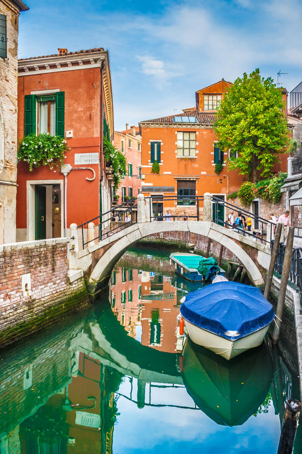 Beautiful scene with colorful houses and boats in Venice royalty free stock photography