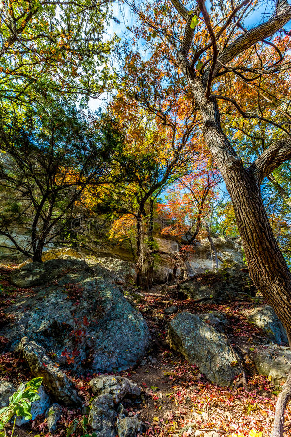 A Beautiful Scene with Fall Foliage and Several Large Granite Boulders at Lost Maples stock photos