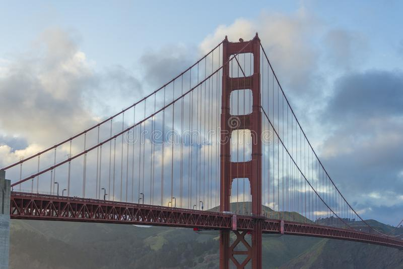 Beautiful scene of Golden Gate bridge in San Francisco, California. stock image