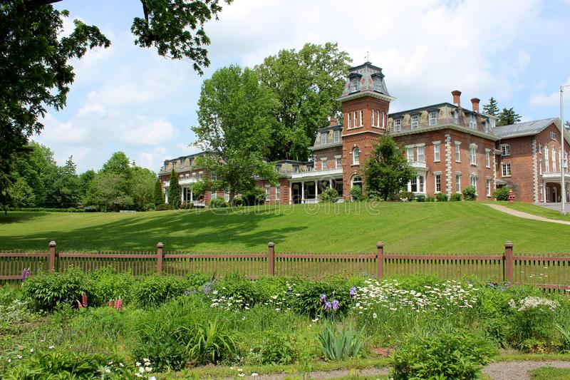 Beautiful historic architecture and landscaped property, Oneida Community Mansion House, Oneida, New York, 2018 royalty free stock photography