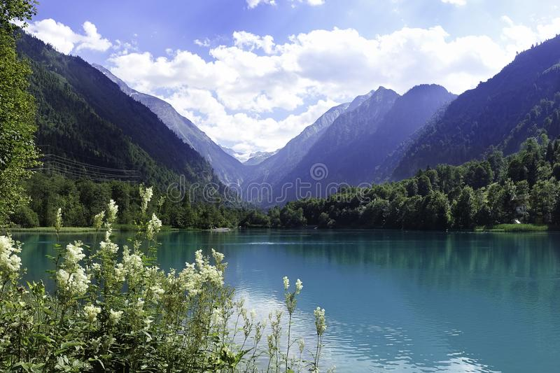 Beautiful scene from lake, forest and mountains in Salzburg, Austria royalty free stock photo