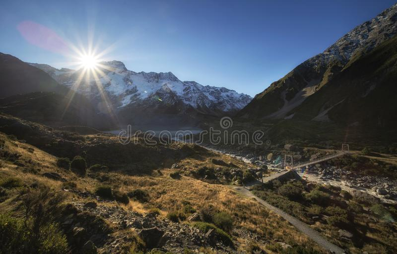 Beautiful scene of Mt Cook and environment while trek on Hooker Valley Track. stock photo