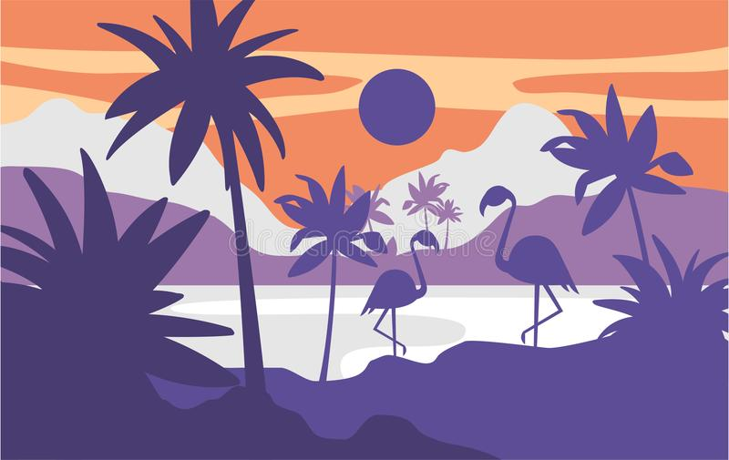 Beautiful scene of nature, peaceful tropical landscape with lake and flamingos at evening time, template for banner royalty free illustration