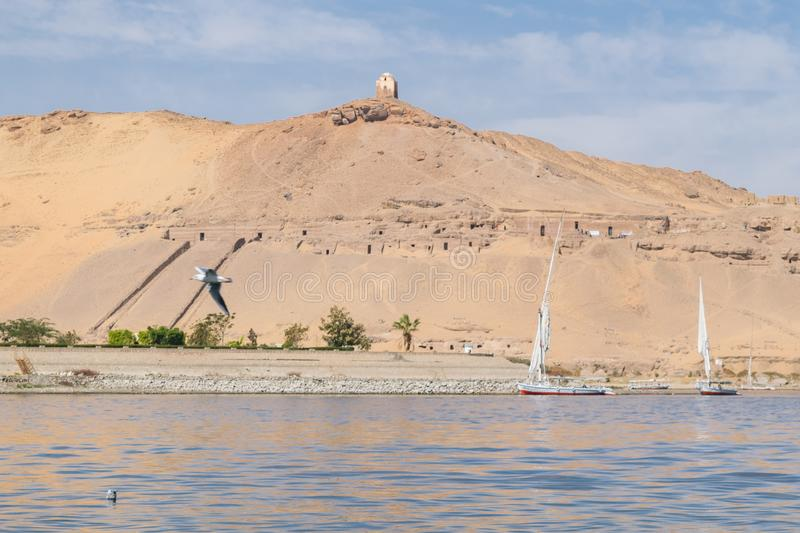 Beautiful scene for Nile river and boats. From Luxor and Aswan tour in Egypt royalty free stock photos
