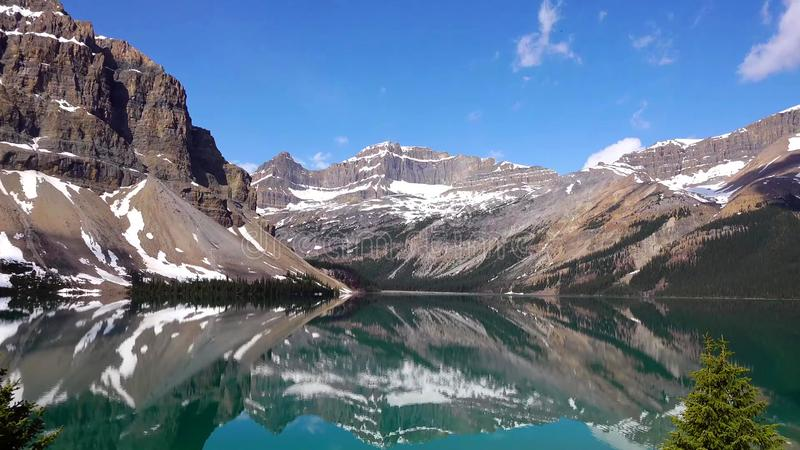 Rocky Mountains, Bow lake in Banff National Park, Canada royalty free stock photos