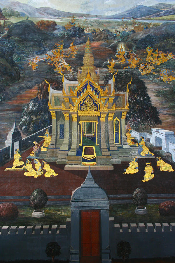 Beautiful Scene Painted on a Temple window at Grand Palace stock photography
