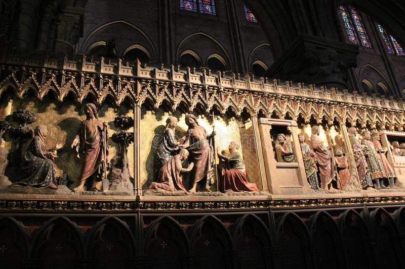Beautiful Scene Of Religious Wall Murals Inside Notre Dame Cathedral