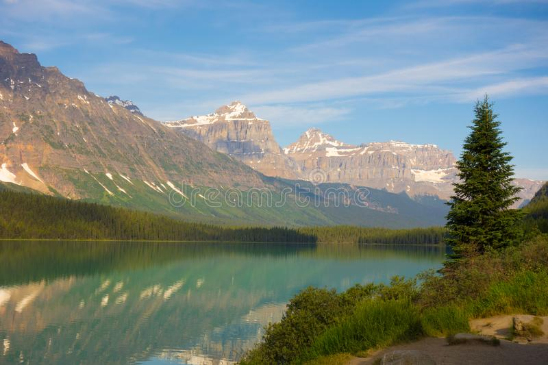 A beautiful scene in the rocky mountains. A breathtaking view as seen from the ice parkway in alberta royalty free stock photos