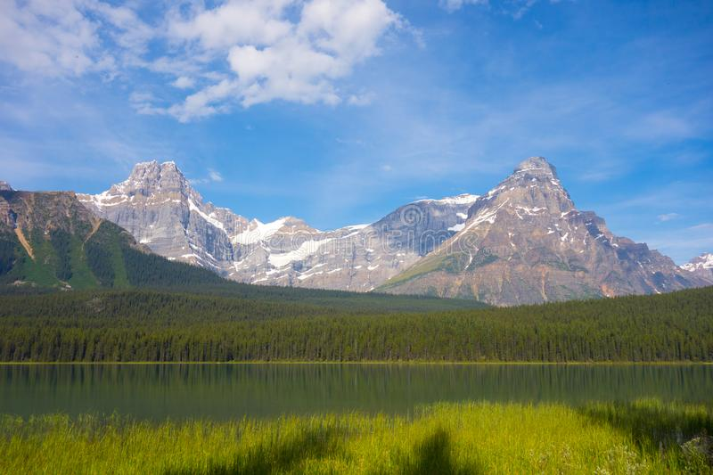 A beautiful scene in the rocky mountains. A breathtaking view as seen from the ice parkway in alberta royalty free stock photo