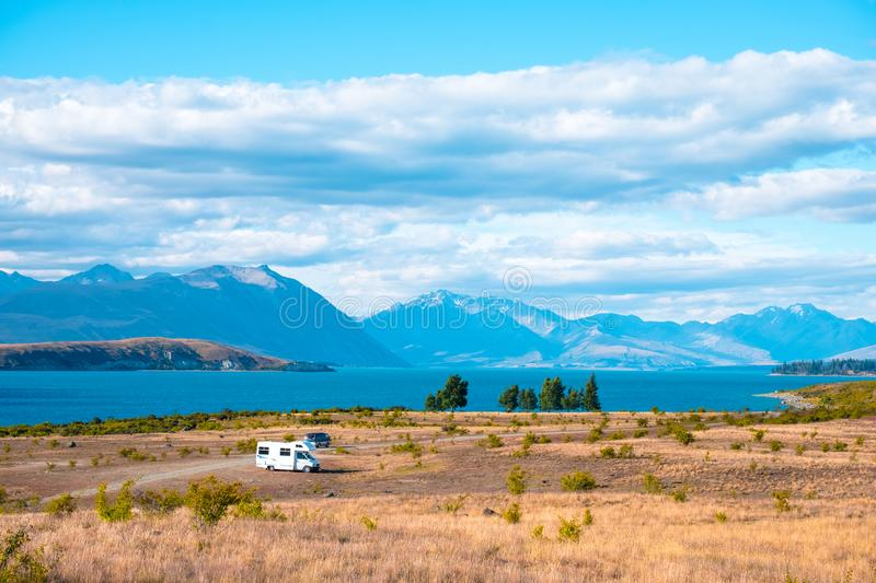 Beautiful scene of the yellow grassland mt cook and lake tekapo. I. Beautiful scene of the yellow grassland mt cook and lake tekapo royalty free stock images