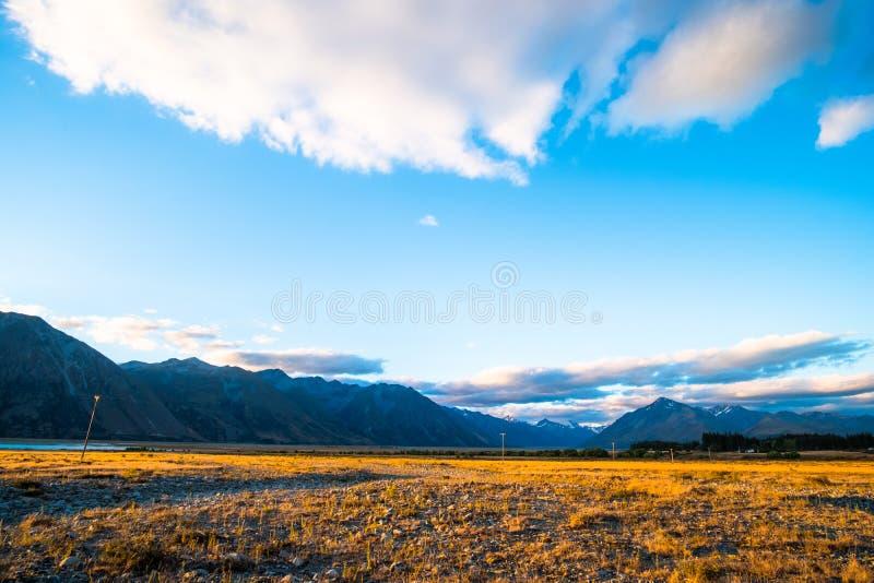 Beautiful scene of the yellow grassland mt cook and lake tekapo before sunset. I. Beautiful scene of the yellow grassland mt cook and lake tekapo before sunset royalty free stock photography