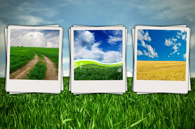 Download Beautiful Sceneries In Photos On Green Field Backg Stock Illustration - Image: 16559803