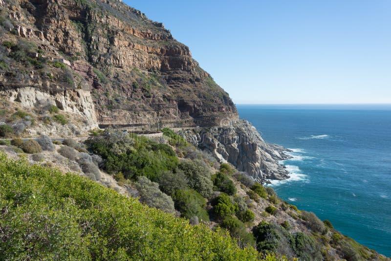 Beautiful scenery along Chapmans Peak drive near Cape Town royalty free stock photos