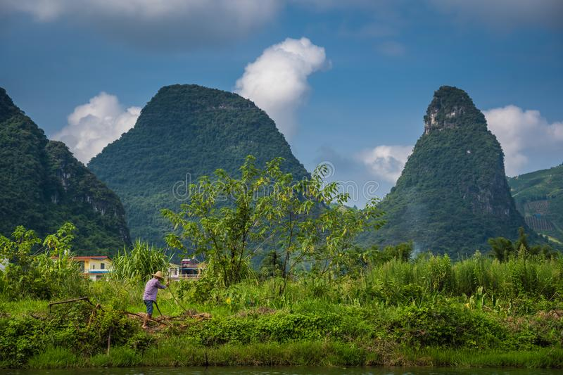 Beautiful scenery along Yulong River in Yangshuo in China stock photography
