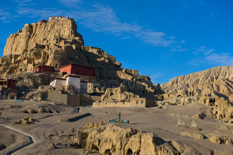 Zhada Soil Forest and Ruins of Guge Kingdom. The beautiful scenery can be seen everywhere when we travelling in Ngari Prefecture of Tibet autonomous region of stock photography
