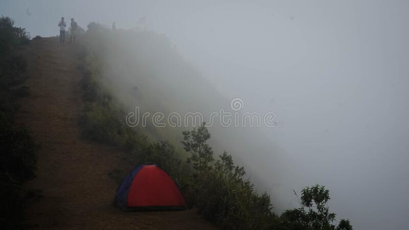 Amazing view on the hill. Beautiful scenery for climbers on Andong Peak in Magelang District, Central Java, Indonesia stock images