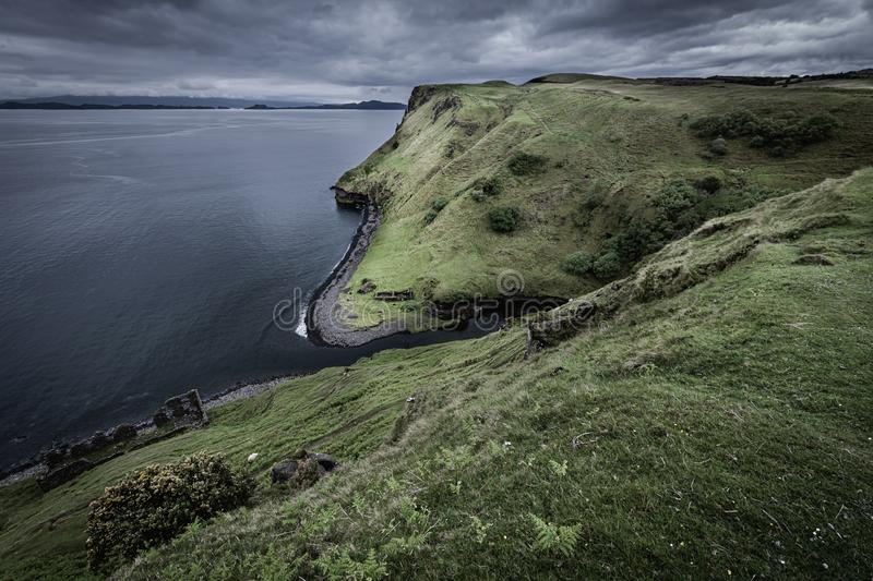 Beautiful scenery of dramatic Scottish coastline stock photography