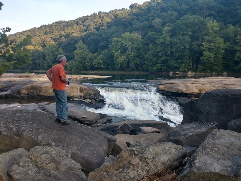 Valley Falls State Park. Beautiful scenery in Fairmont, WV at Valley Falls State Park. Many rocks to walk around the water. Tygart River is a local and tourist royalty free stock photos