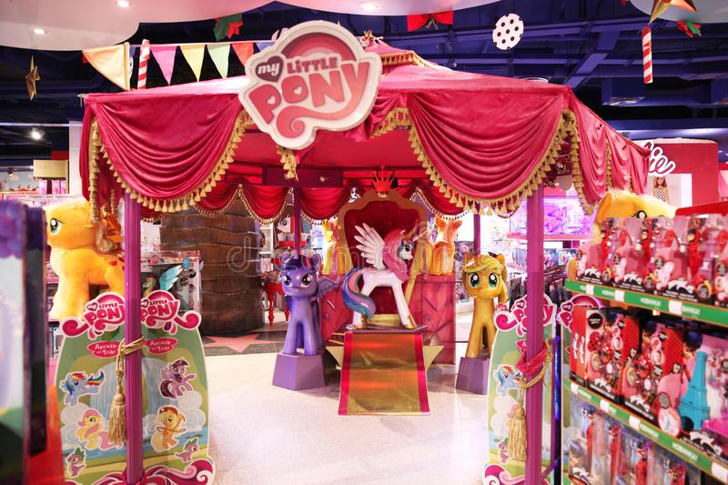Beautiful scenery with figures of heroes and toys cartoon My Little Pony in the store Children`s world. Moscow. 14.12.2018. Beautiful scenery with figures of stock image
