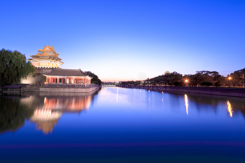 Beautiful scenery of the forbidden city at dusk stock image