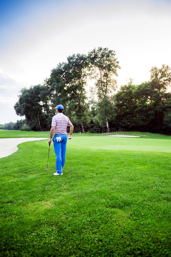Beautiful golfing scenery with a golfer holding a club royalty free stock image