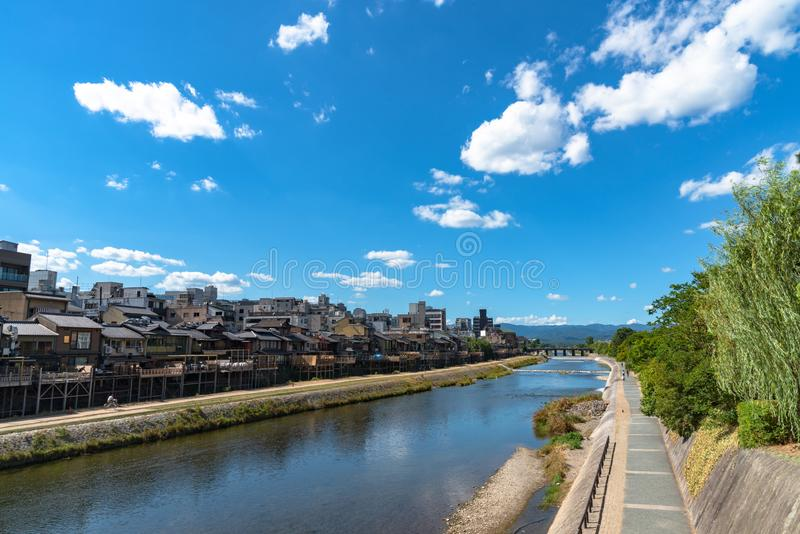 Kamo River or Kamogawa in Kyoto City, Japan stock images
