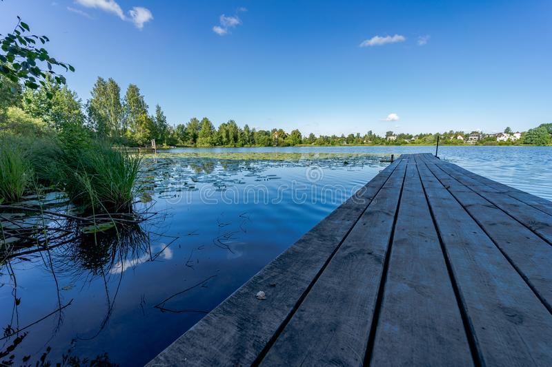 Beautiful scenery. Lake of the woods, water lilies on the water and wooden walkways. Beautiful nature of Russia royalty free stock images