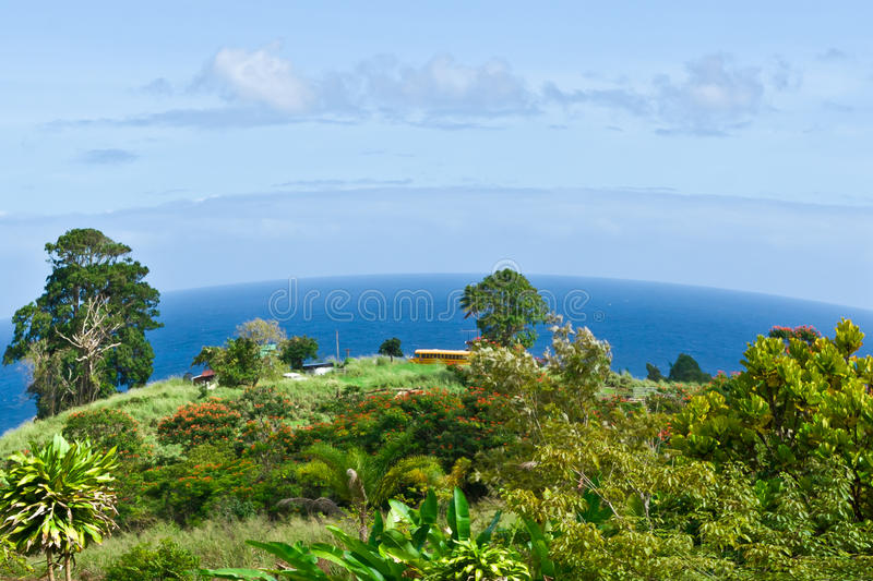 The beautiful scenery of land's end round earth effect. Small village near ocean in Big Island, Hawaii stock image