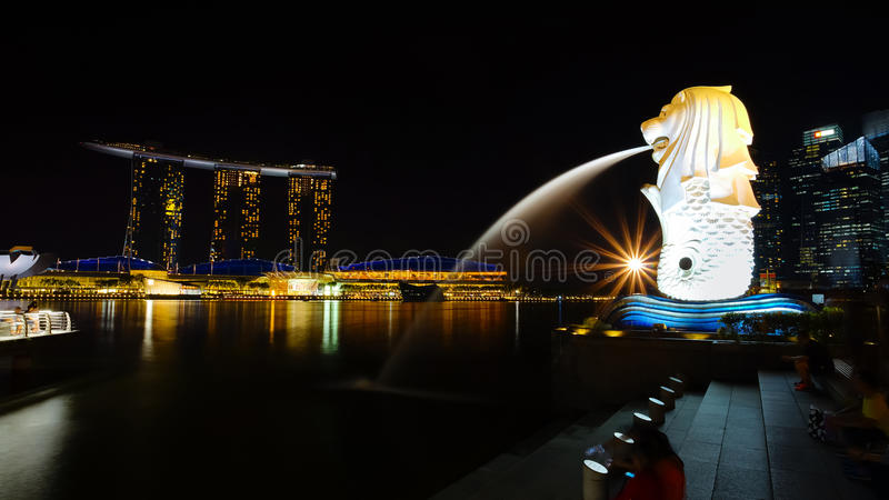 Beautiful scenery at Marina Bay, Merlion and Marina Bay Sands. royalty free stock photography