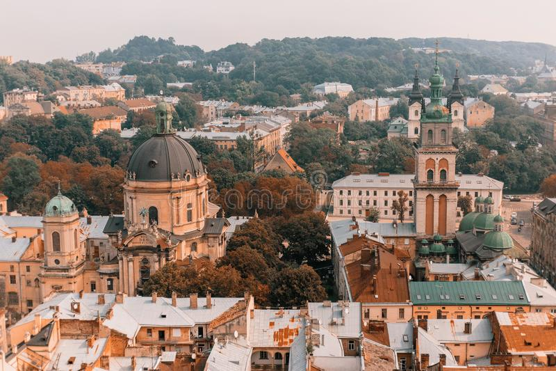 Beautiful scenery of the old city: streets, roofs, sights, doors. Beautiful landscape of the old city of Lviv: streets, roofs, sights, doors stock images