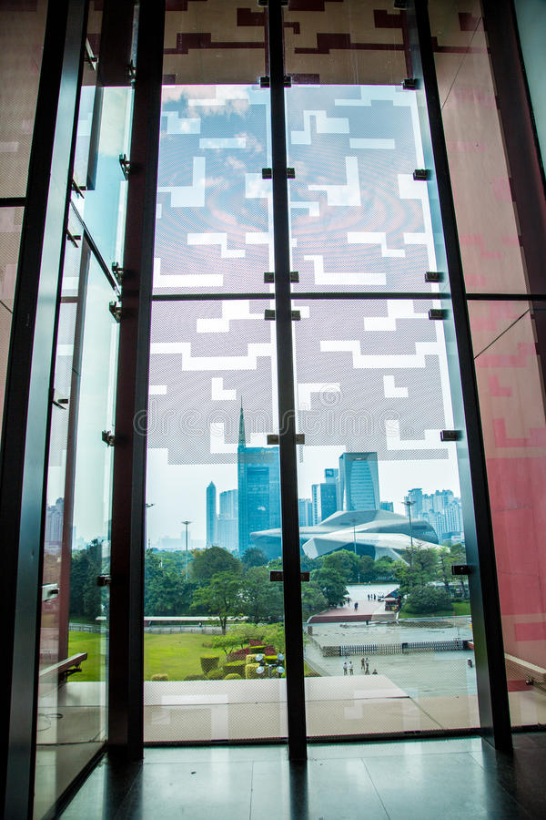 Beautiful scenery outside the window of the Guangdong provincial museum. stock image