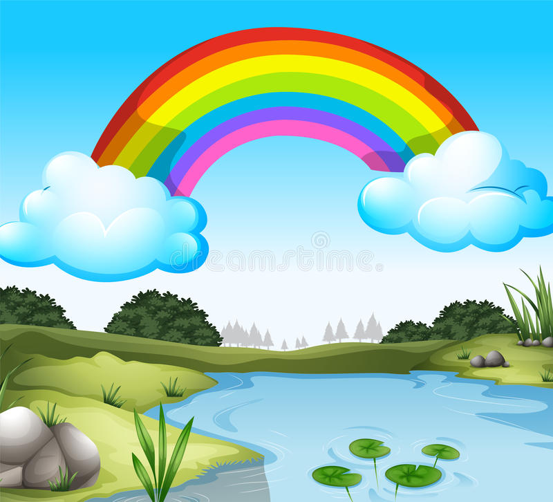 A beautiful scenery with a rainbow in the sky stock illustration