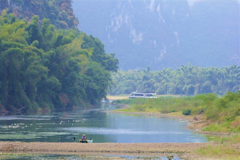 River Li cruise in Guilin, China. Beautiful scenery during the river Li cruise in Guilin, China stock images