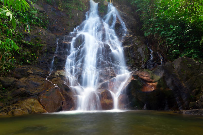 Beautiful scenery of Sai Rung waterfall. In Thailand royalty free stock images