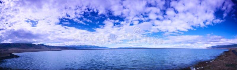 The beautiful scenery of Sailimu Lake ! royalty free stock image