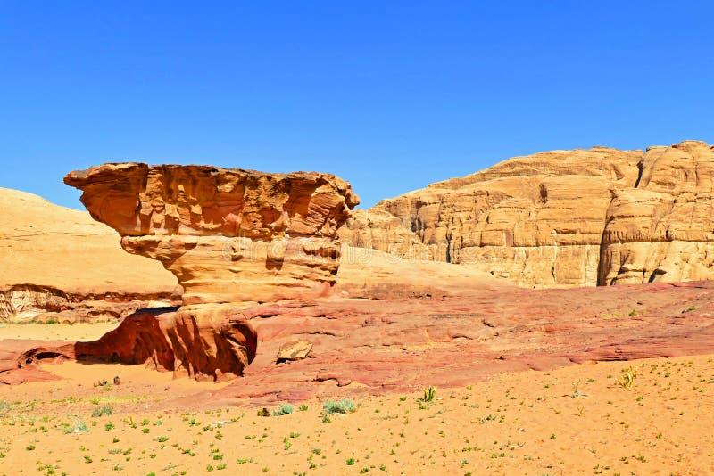 Scenic Beautiful Nature Peculiar Rock Shape at Wadi Rum Desert, Jordan royalty free stock image