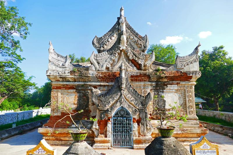 Beautiful Ancient Buddhist Ayutthaya Style Maha Thein Taw Gyi Temple Ruins in Inwa, Myanmar in Summer. Beautiful Scenery Scenic View of Ancient Buddhist stock photography