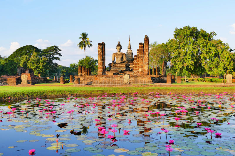 Beautiful Scenery Scenic View Ancient Buddhist Temple Ruins of Wat Mahathat in The Sukhothai Historical Park in Summer. Ancient Buddhist Temple Ruins of Wat stock photography