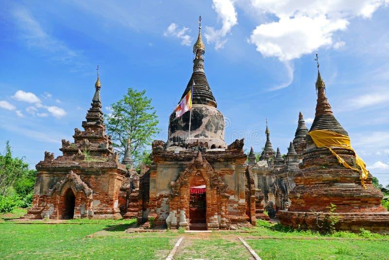 Beautiful Ancient Burmese Buddhist Daw Gyan Pagoda Temple Complex Ruins in Inwa, Myanmar in Summer. Beautiful Scenery Scenic View of Ancient Burmese Buddhist Daw royalty free stock images
