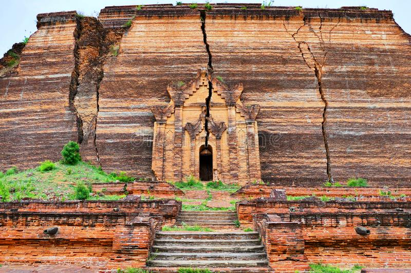 Beautiful Ancient Giant Buddhist Burmese Mingun Pahtodawgyi Incomplete Pagoda Ruins in Mingun, Myanmar in Summer. Beautiful Scenery Scenic View of Ancient Giant stock images