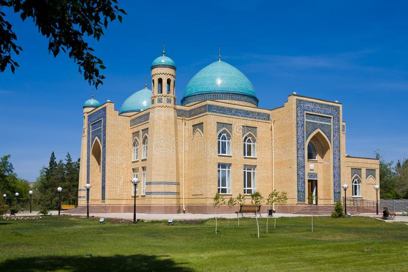 Beautiful muslim mosque on a sunny day against blue sky royalty free stock photo