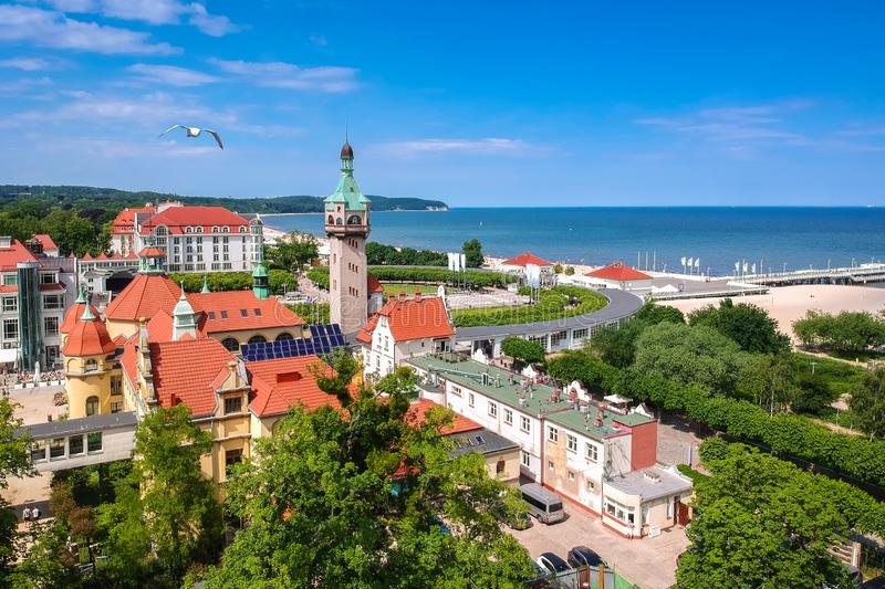 Beautiful scenery of Sopot at Baltic sea with the wooden pier, Poland. Aerial, view, beach, vacation, molo, tourist, water, travel, promenade, europe, panorama stock photo
