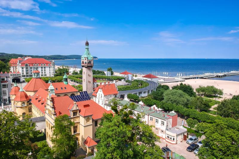 Beautiful scenery of Sopot at Baltic sea with the wooden pier, Poland. Aerial, view, beach, vacation, molo, tourist, water, travel, promenade, europe, panorama royalty free stock image