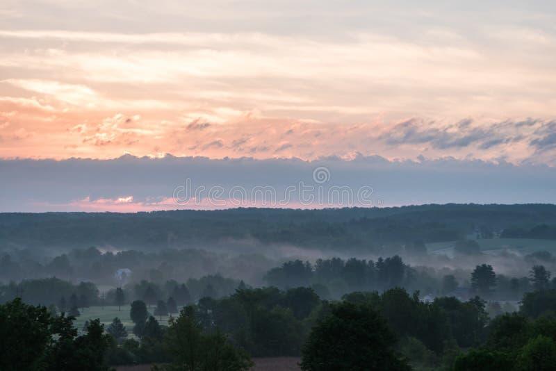 Beautiful scenery of the sunrise in the countryside of Northwest Pennsylvania. The beautiful scenery of the sunrise in the countryside of Northwest Pennsylvania stock photo