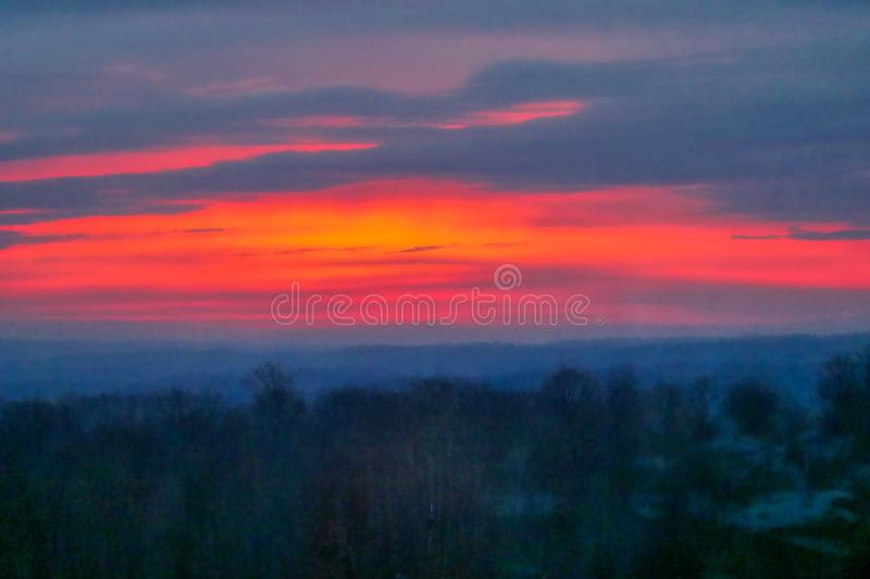 Beautiful scenery of the sunrise in the countryside of Northwest Pennsylvania. The beautiful scenery of the sunrise in the countryside of Northwest Pennsylvania royalty free stock photo